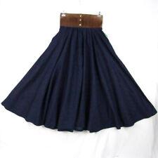 "Vintage Western Full Circle Denim Skirt XS 24"" Suede Waist Square Dance Blue"