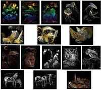 CHOICE OF 16 WILD ANIMAL DESIGNS A4 ENGRAVING ART SCRAPER CRAFT FOIL KITS & TOOL