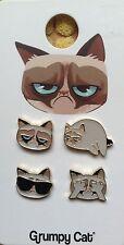 NWT 4 x GRUMPY CAT PIN BADGES KITTY CUTE KAWAII COLLECTABLE GIFT KIDS GIRL MUM