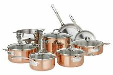 New,Viking Copper Cookware Set 13 Piece Tri-Ply 18/8 Stainless Steel Glass Lids
