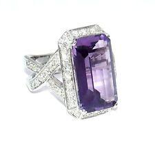 Italian 18k White Gold Genuine Diamond & Amethyst Ring