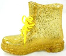 Women's Rain Boots Color Lace Up Clear Waterproof Transparent Jelly Shoe Sz 6-12