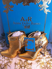 Anna dello Russo AdR at H&M Boots Stiefeletten Leder Gold High Heels EUR 36 US 5