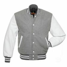 Women Varsity Jacket Real Leather Long Sleeve Wool Body Quilted Letterman Jacket