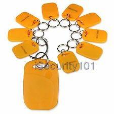 10x RFID 125Khz Proximity ID Card Yellow Key Ring Fob Tag for Entry Home Office