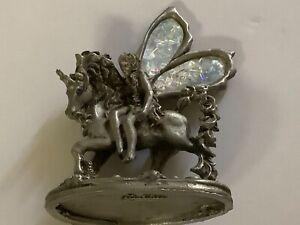 Greg Nerley Pewter Fairy Riding On Unicorn Figurine 1994