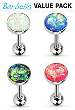 4pc Value Pack Opal Glitter Dome Tongue Rings 14g Tounge Body Jewelry