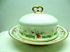 Wm. Guerin & co. white porcelain covered butter dish w/ insert.1891-1932.