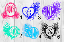 Personalized Monogram Vinyl Decal 3x3 Feather A