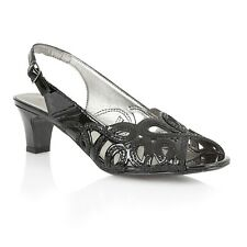 Ladies Lotus Harper Black  Patent Slingback Shoes UK Sizes 4 & 7