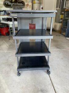 Standesign Black audio/video rack pair, welded steel and wood shelves, black