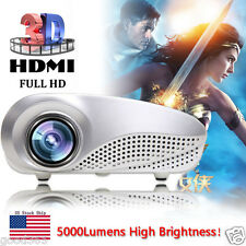 5000Lumens HD 1080p Portable Projector Home Cinema 3D LED AV TV VGA USB HDMI SD