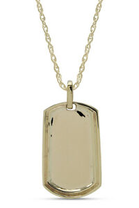 Dog Tag Pendant Necklace 10K Yellow Gold Brand New
