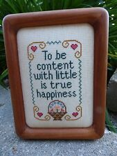 Dovetail Wood Picture Frame w Cross Stitch/ Framed Cross stitch  w Quote/ Nice!