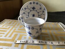 Royal Copenhagen Blue Fluted Cup With Looped Handle And Saucer