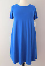 XL 1X Large LuLaRoe Carly Dress Solid Blue Textured Amelia Fabric Stretchy 398