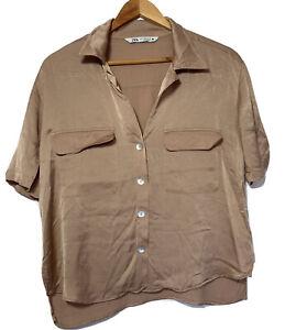 Blush Nude Slinky Top Zara Medium Size 10 12 Blouse T-Shirt Smart Casual Button