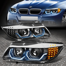 [LED 3D CRYSTAL U-HALO]FOR 06-08 BMW 3-SERIES E90 4-DR HEADLIGHT/LAMPS BLACK