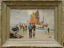 Tableau vers 1930 Marine Port Bateaux signature?