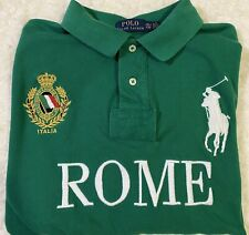 Polo Ralph Lauren SS Shirt Italia Rome Big Pony Rugby Green XXL Preowned