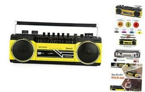 Cassette Boombox, Retro Blueooth Boombox, Cassette Player and Recorder, Yellow