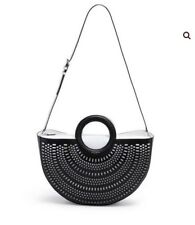 Henri Bendel WEST 57TH HALF CIRCLE PERFORATED TOTE Black/White Nwt