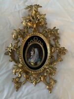 Antique French Enamel  Miniature Portrait Painting Gilded Wood Frame Plaque