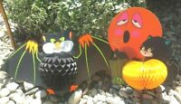 VINTAGE 60's Beistle HALLOWEEN Black Cat Moon Bat Neon Die Cut Decoration USA
