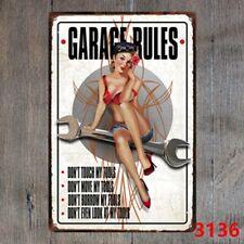 Metal Tin Sign garage rules Decor Bar Pub Vintage Retro Cafe ART