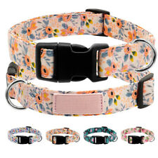 Floral Nylon Dog Collar Adjustable Quick Fit Buckle Small Large Dogs Rottweiler