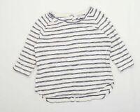 Fat Face Womens Size 10 Striped Cotton Blend White Button Detail Top (Regular)