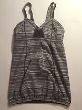 RARE LULULEMON Gray SPEED UP TANK Top Size 4 Coal Strata Stripe Yoga Athletic