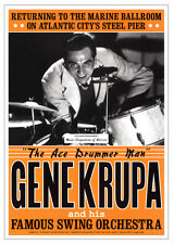 Gene Krupa JAZZ POSTER RARE Atlantic City swing drummer Poster Print, 17x24