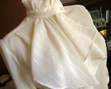 MEDIUM 8 True Vtg 80s COLLAR CREPE THIN IVORY BOHO SCARF FESTIVAL TOP BLOUSE