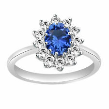 Sapphire & Topaz Halo Wedding Ring 14k White Gold Over Sterling Silver