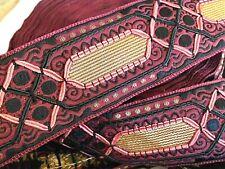 """VINTAGE 1900's JQ Metallic Cotton SILK Quilt 1 3/4"""" Embroidered Trim 1yd France"""