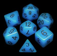New 7 Piece Blue Glow in the Dark Polyhedral Dice Set – Blue Bag
