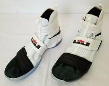 Men Sz 13 White Black Nike Lebron Soldier X Basketball Shoes 844378-102 preowned