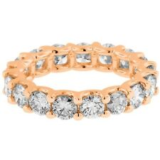 5.00CT Round cut 14K ROSE gold anniversary eternity diamond engagement ring