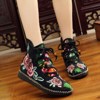 Womens  style Lace Up Flats jogging Embroidered High-top Shoes Ankle Boot zhou8
