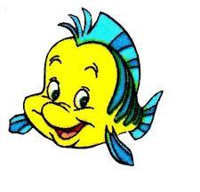 "2"" Disney little mermaid flounder fish fabric applique iron on character"