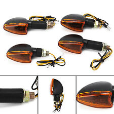 4x Spear Black Bulb Indicators Front & Rear Motorbike Motorcycle (Amber Lens)