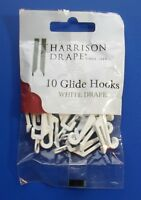 Harrison Drape Curtain Track Gliders Hooks for White Drape rails, Pack of 10