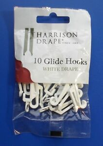 Harrison Drape Curtain Track Gliders Glide Hooks For White Drape Rails Pack 10