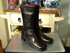 WOMENS HAROLD POWELL BLACK LEATHER LINED MID- CALF BOOTS 8.5M ITALY  EUC