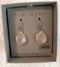 SURI Gems SS 18K Yellow Gold Plate Pink Chalcedony Oval Dangle Earrings