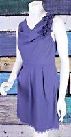 Anthropologie Small S Esley Purple Crepe Lace Trim Cowl Neck Floral Sheath Dress