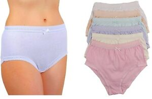 Ladies Underwear Cotton Full Comfort Ribbed Briefs Nickers 3 or 6 Pack S M L XL