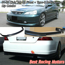RS Style Front (PP) + TR Style Rear (ABS) Bumper Lip Combo Fit 01-03 Civic 2dr