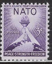 Scott 1008- NATO, Torch of Liberty and Globe, Peace- MNH 1952- unused mint stamp